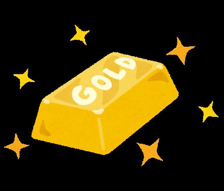 「GOLD」と書かれた、黄金に輝く金の延べ棒(金塊)のイラストです。